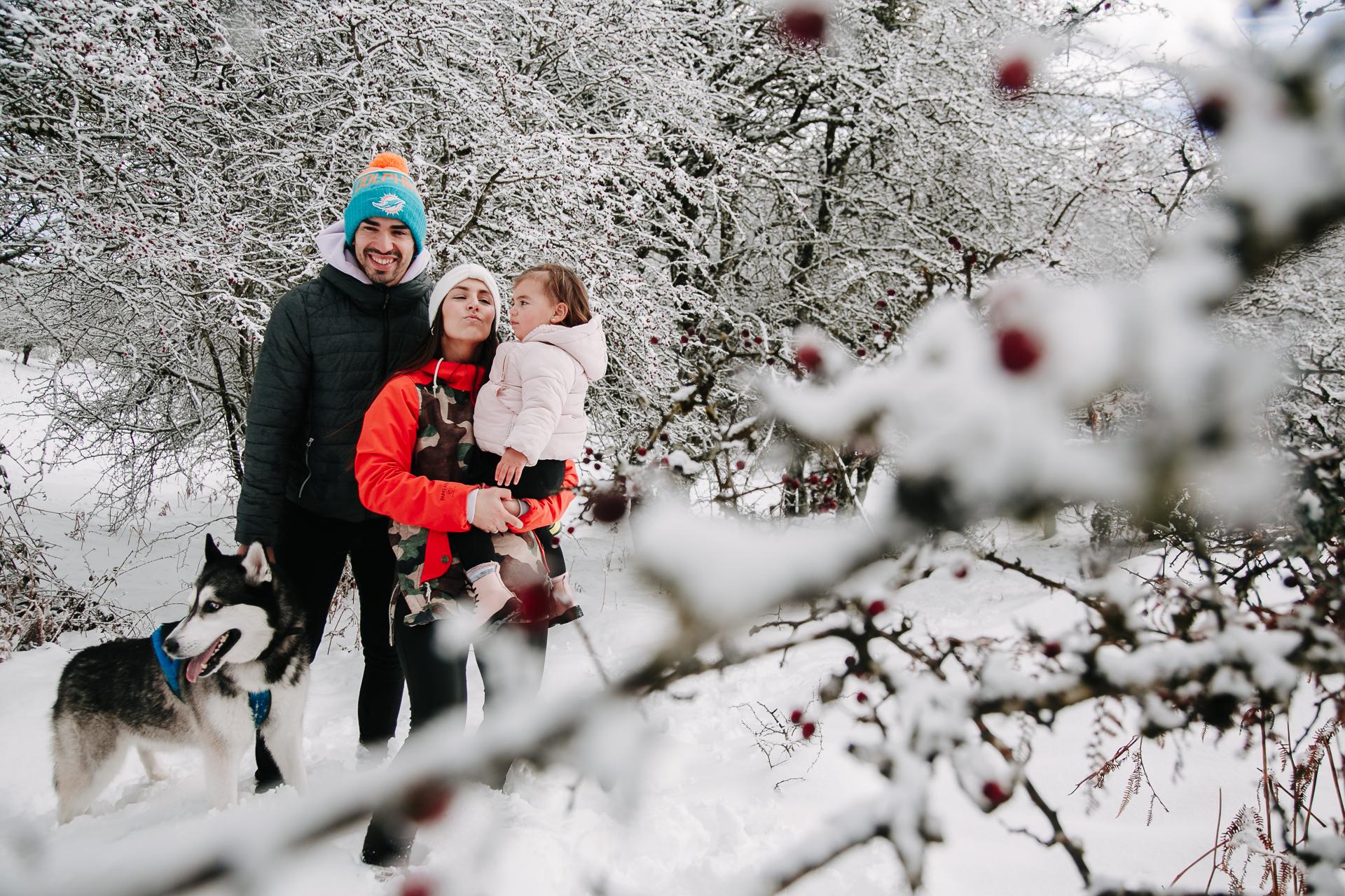 sesion de fotos en la nieve