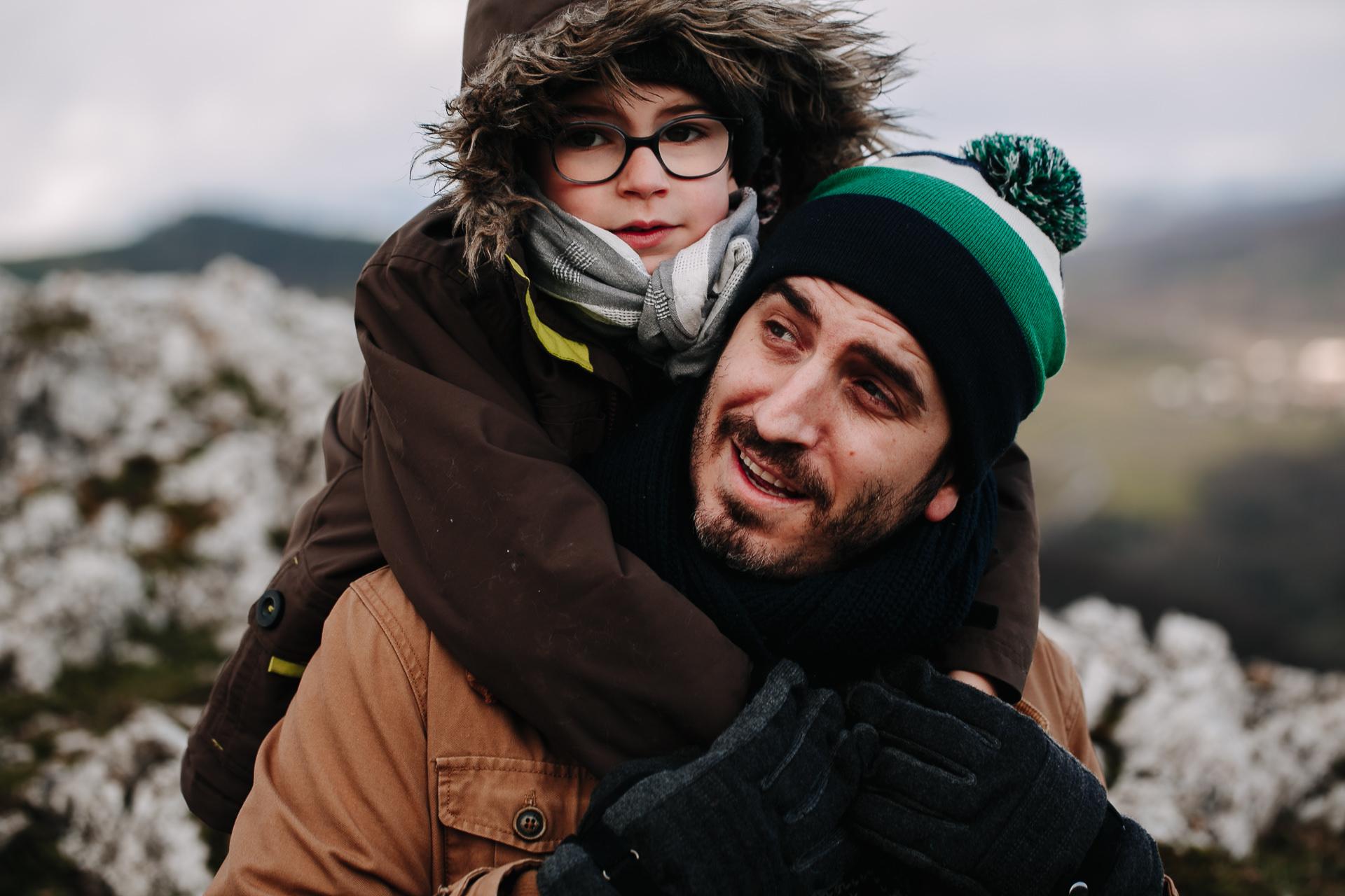 fotos familia nieve barcelona